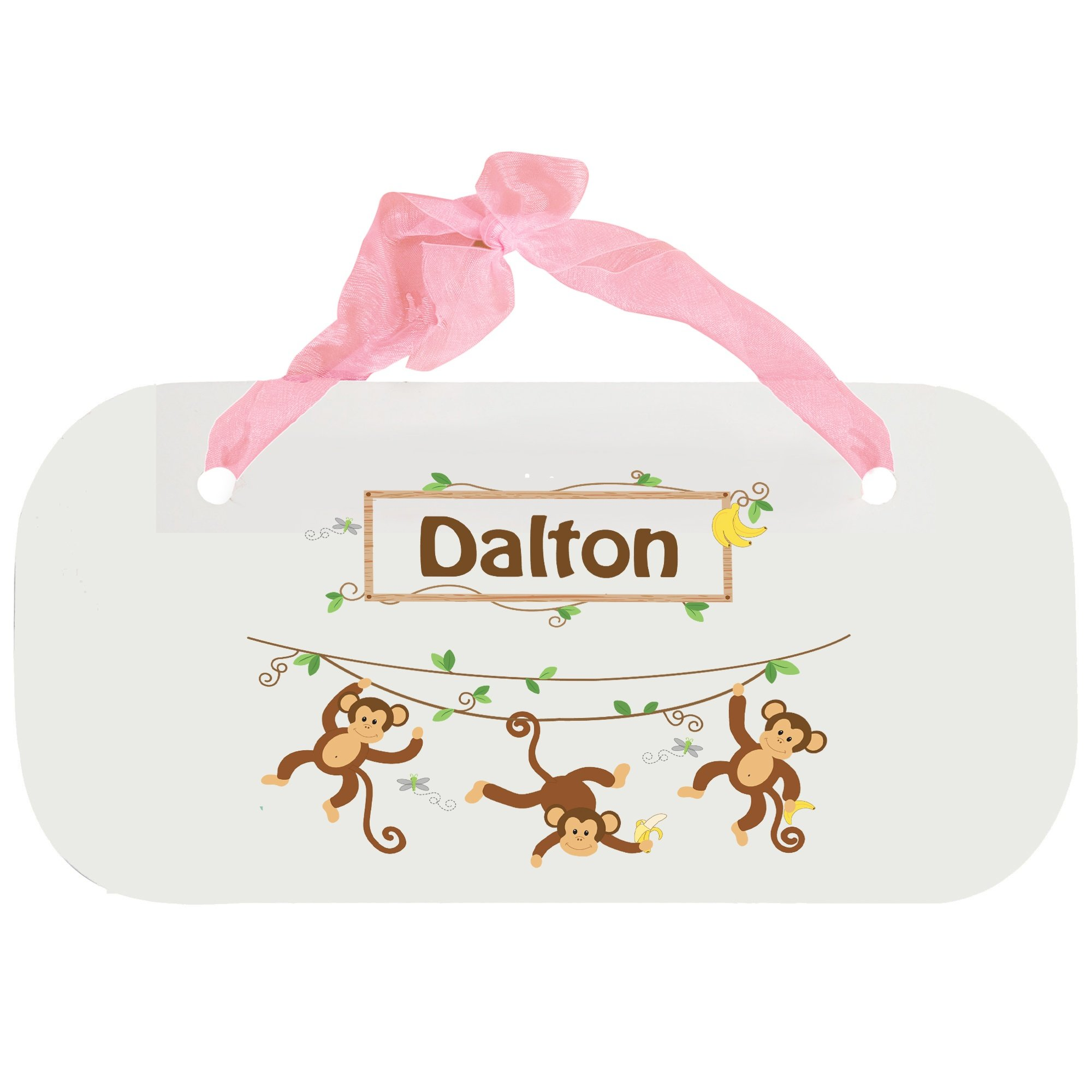 Personalized Monkey Boy Wooden Door Hanger With Blue Ribbon