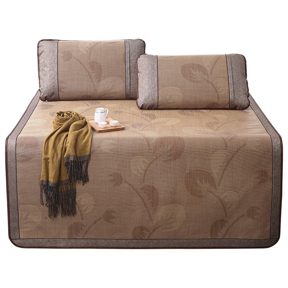 WENZHE Matratzen Matratze Schlafunterlage Sommer Rattan Atmungsaktiv Faltbar Mit 2 Kissenbezügen Studenten Schlafsaal, 4 Größen Verfügbar Strohmatte Teppiche (größe : 150X198cm)