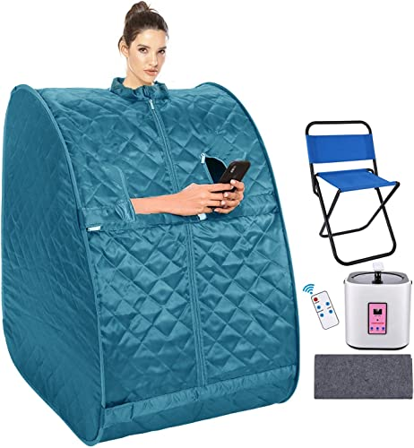 Mauccau Portable Sauna for Home, Personal Steam Sauna Spa for Weight Loss Detox Relaxation, 2L Sauna Tent with Foldable Chair Timer Remote Control Teal