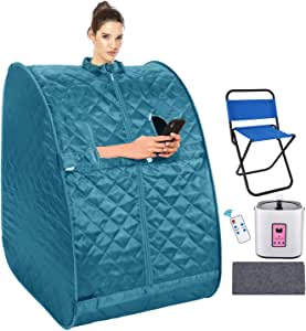 Mauccau Portable Sauna for Home, Personal Steam Sauna Spa for Weight Loss Detox Relaxation, 2L Sauna Tent with Foldable Chair Timer Remote Control (Teal)