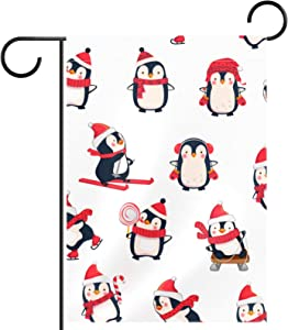 huiyueqiche Christmas Penguin Garden Flag Double Sided Burlap Summer Fall Farmhouse Outdoor Garden Decor Small Garden Flag 12x18 Inch