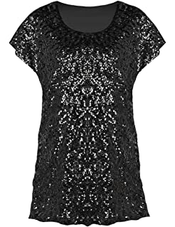 2bc07e973fff09 PrettyGuide Women s Sequin Top Shimmer Glitter Loose Bat Sleeve Party Tunic  Tops
