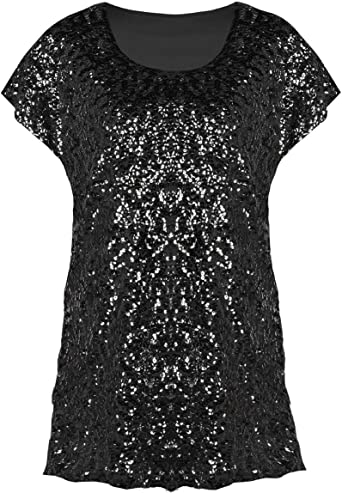 Womens Sequin Vest Top Sleeveless Grey Silver Ladies New Party Blouse Size UK