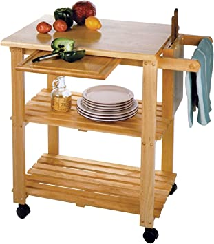 Rolling Butcher Block Cart Origami Foldable Kitchen Island Cart Collapsible Utility Carts On Wheels Wheeled Wooden Kitchen Cart Chopping Board Cart Made Of Natural Wood Kitchen Islands Carts