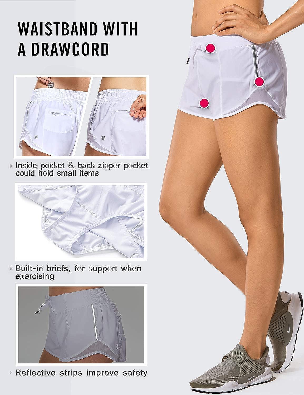 CRZ YOGA Femme Shorts de Sport Running Slip Intégré avec Pochette 6cm