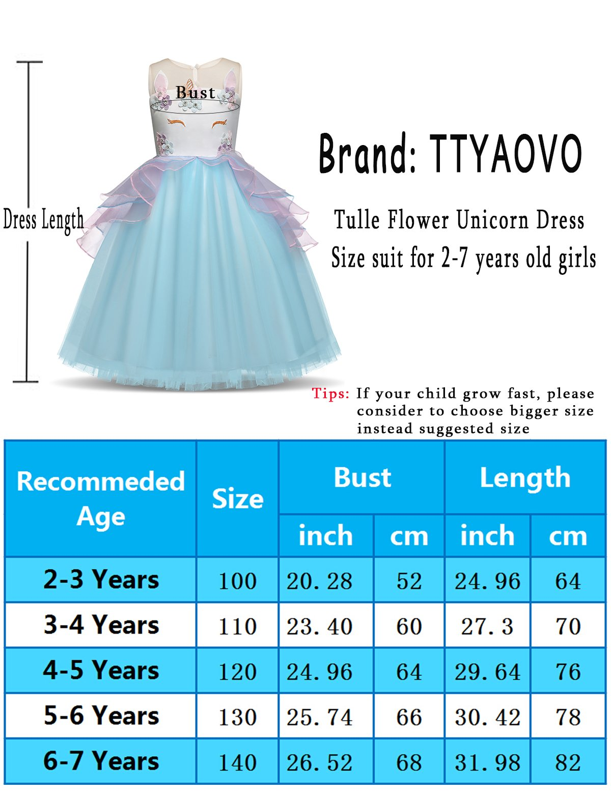 TTYAOVO Kids Unicorn Costume Dress Girl Princess Flower Pageant Party Tutu Dresses Size 5-6 Years Pink by TTYAOVO (Image #7)