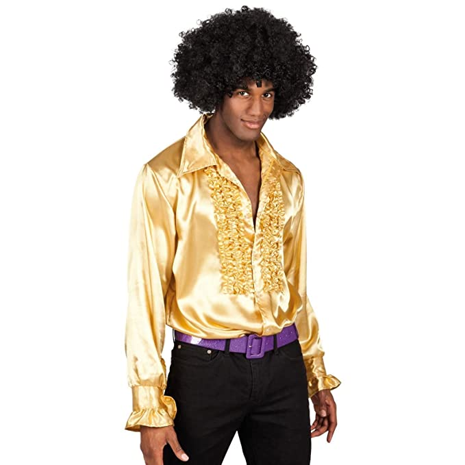 1960s – 70s Mens Shirts- Disco Shirts, Hippie Shirts Deluxe Gold Shirt Adult Mens 60s 1970s Disco Fever Frilly Style Silky Ruffle Top Night Fever Fancy Dress Costume £23.53 AT vintagedancer.com
