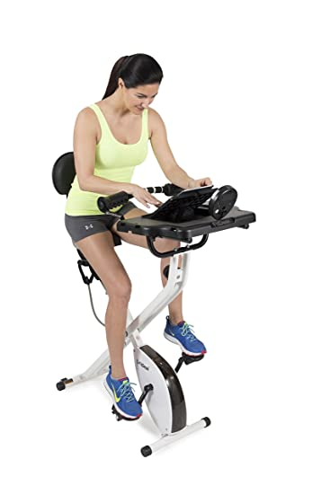 side facing fitdesk folding exercise bike and office workstation