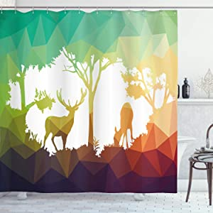 """Ambesonne Africa Shower Curtain, Fractal Deer Family Geometric Cut Shapes Hunt Adventure Themed Desert Eco Graphic, Cloth Fabric Bathroom Decor Set with Hooks, 70"""" Long, Teal Orange"""