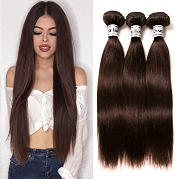 Ornate Hair 8a Brazilian Straight Hair Brown Hair 3 Bundles Brazilian Virgin Hair Bundles Human Hair Weave Dark Brown Color 2 8 10 12 Inch