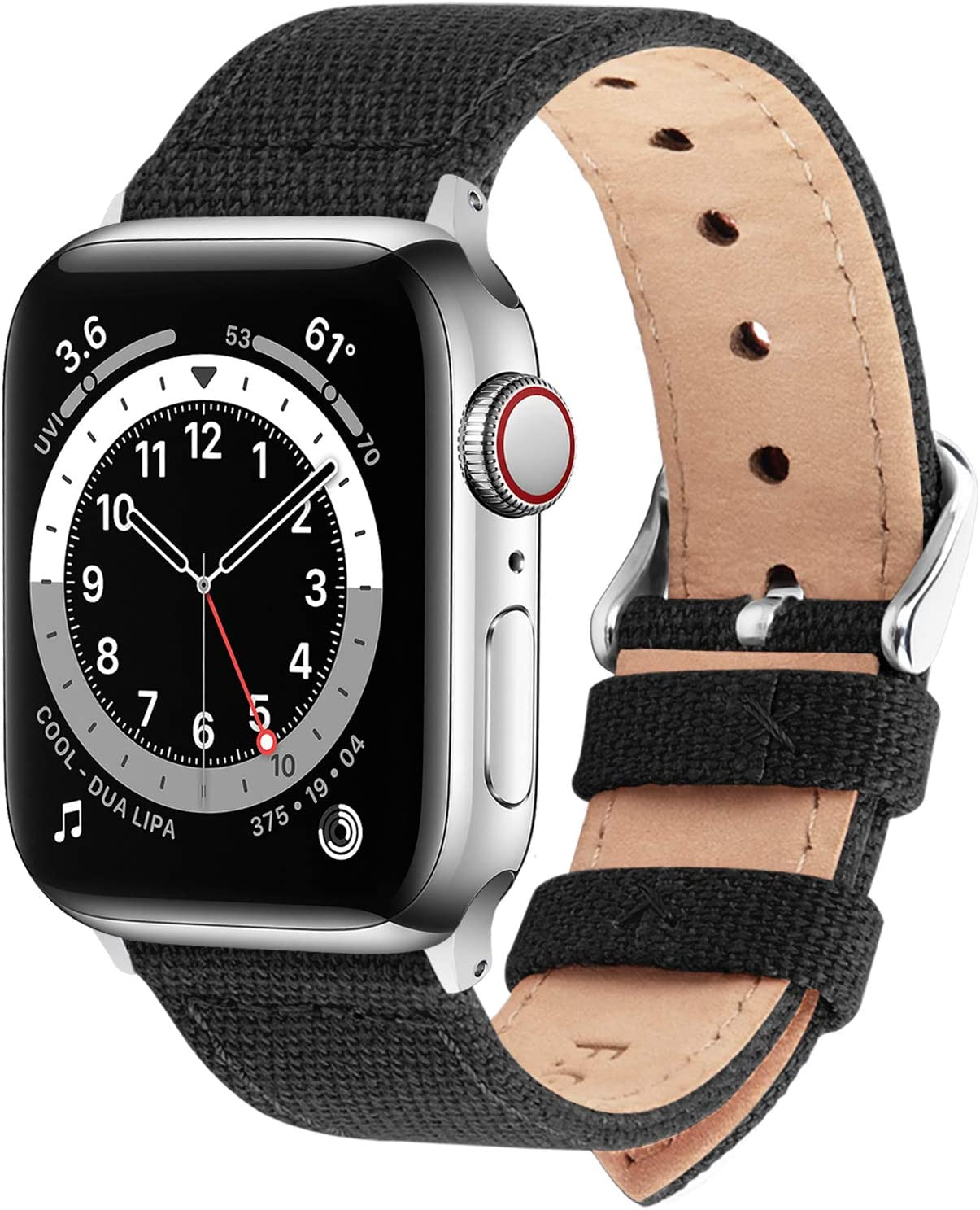 Fullmosa Compatible Apple Watch Band 44mm 42mm 40mm 38mm, 8 Colors Canvas Style for iWatch Strap Compatible with Apple Watch Series 4/5/6/SE (44mm) Series 3/2/1 (42mm),44mm 42mm Black