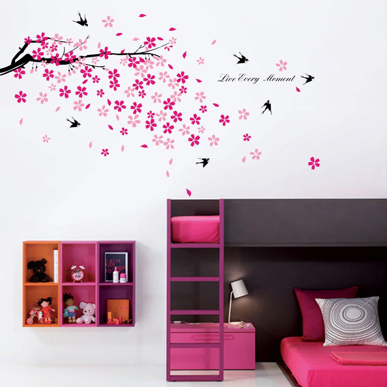 Walplus Stickers muraux fleurs roses hirondelles décor pour