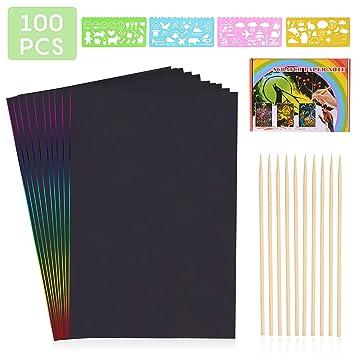 HellDoler Manualidades para Niños,100 Hojas Manualidades para Rascar Scratch Art Cuadernos para Dibujar Papel de Rascar Incluye 4 Plantillas de ...