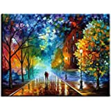 Rihe Paint By Numbers Kits Mounted on Wood Frame with Brushes and Paints for Adults Children Seniors Junior DIY Beginner Level Acrylics Painting Kits on Canvas-Romantic Street 16x20 Inch