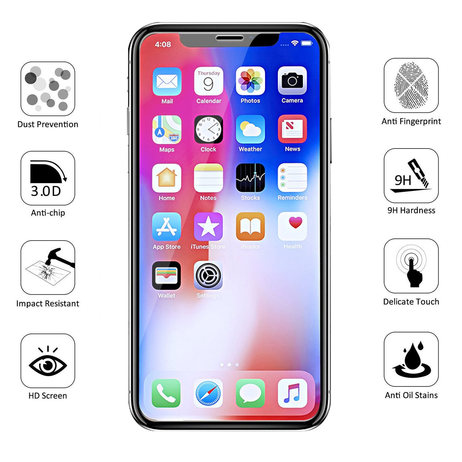 Amazon iPhone X Screen Protector Topcanyon [ Full Coverage ] [0 28mm 3D] [Bubble Free] [9H Hardness] [Easy Installation] [HD Clear] Tempered Glass