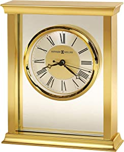 Howard Miller Monticello Table Clock 645-754 – Brass Finished Home Decor, Glass Center Panel, Black Accents, Felt Bottom, Classic Square Timepiece, Quartz Movement