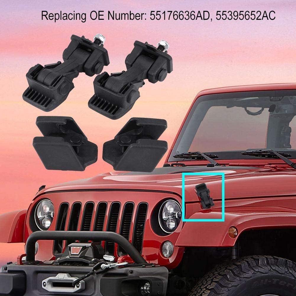 55176636AD 55395652AC 2 Set of Hood Latch Safety Catches /& Brackets for Jeep Wrangler TJ 97-06 Hood Latch