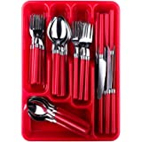Moxinox 48 Piece Flatware Set Silverware Tableware Plastic Handle Steak Knife Spoons Forks Knives Box Fork