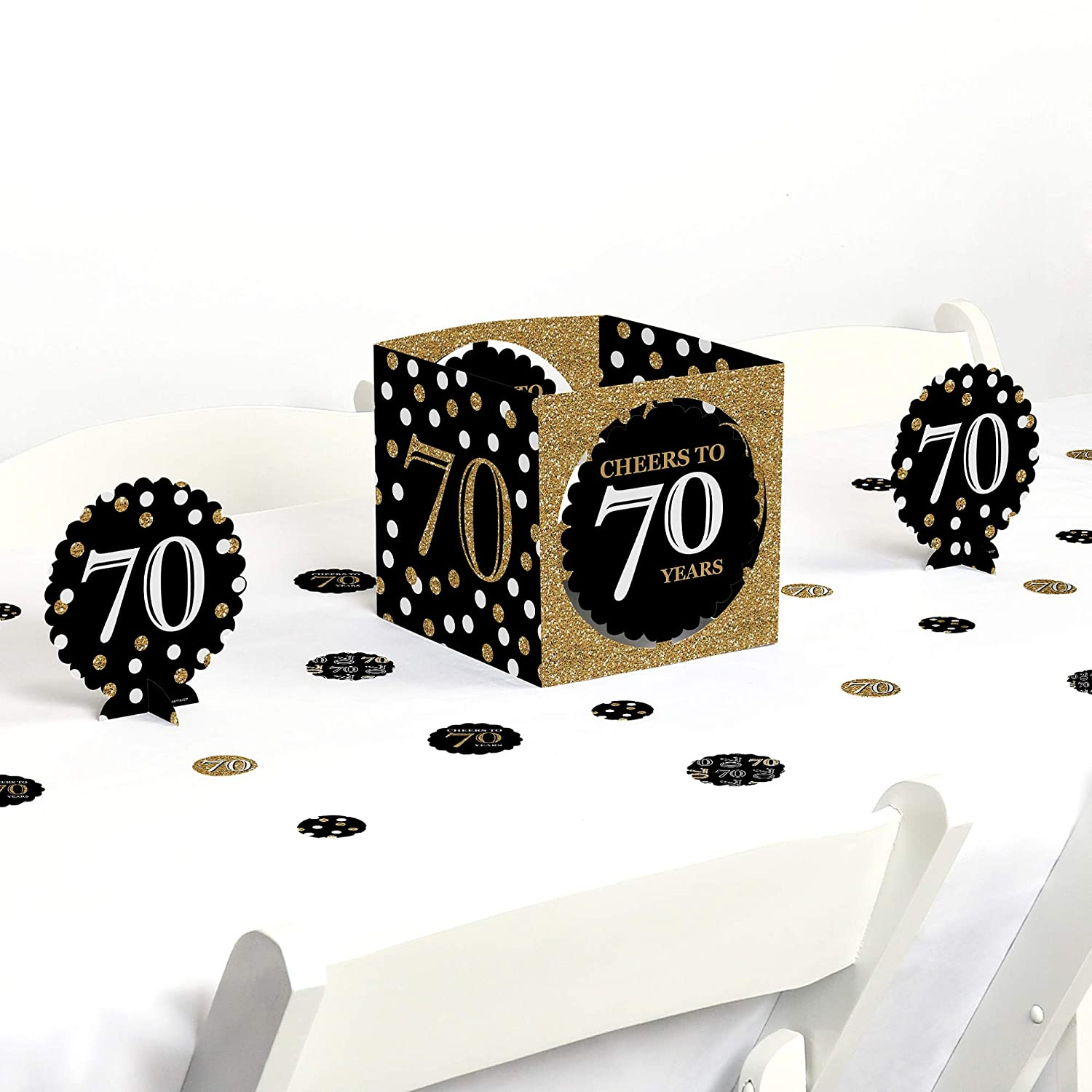 Amazon.com: Big Dot of Happiness Adult 70th Birthday - Gold - Birthday Party  Centerpiece & Table Decoration Kit: Toys & Games