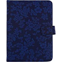 Emartbuy PU Leather Multi Angle Executive Folio Wallet Cover for Samsung Galaxy Tab S2 9.7 Inch SM-T819 Tablet (Blue Vintage Floral, 10 Inches)