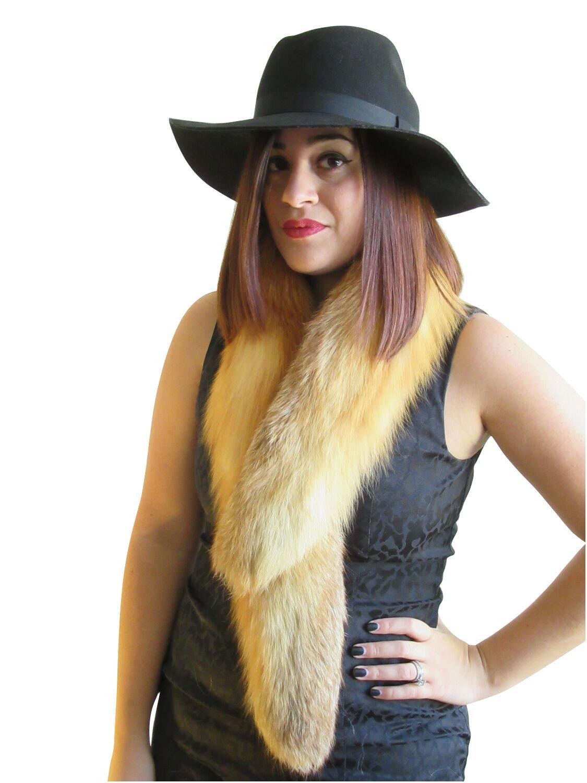 Natural Red Fox Fur Clip Collar