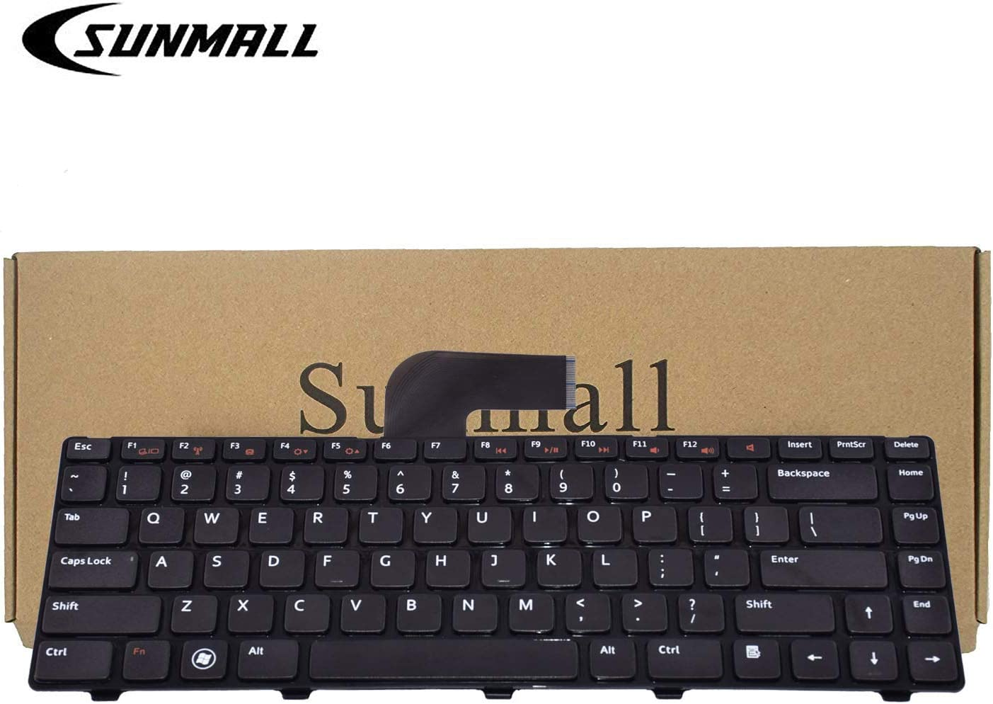 SUNMALL Keyboard Replacement with Frame Compatible with Dell Inspiron 14R N4110 N4120 M4110 N4050 N5040 N5050 M5040 M5050, VOSTRO 1440 1445 1450 1550 2420 2520 3350 3450 3460 3550 3555 3560