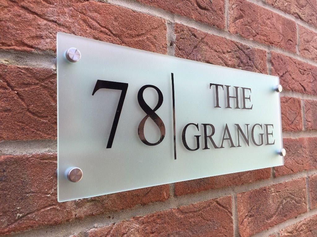 Moderne Plaque De Maison Plaque Numéro De Porte Street Grand Effet Verre  Dépoli Acrylique Maison Nom