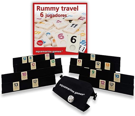 Aquamarine Games - Travel Rummy, Juego de Mesa para 6 Jugadores (DO004): Amazon.es: Juguetes y juegos