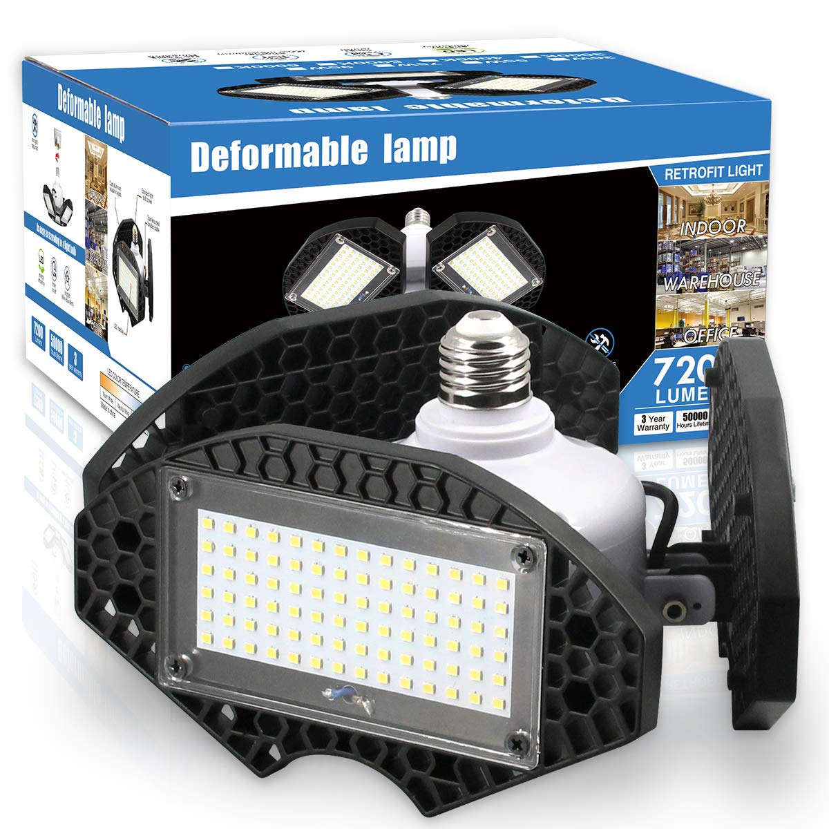 LED Garage Lights,100W Deformable LED Garage Ceiling Lights12500 LM CRI 80 Led Shop Lights for Garage, Garage Lights with 3 Adjustable Panels, Utility Led Garage Lighting (No Motion Activated) 100W1PK