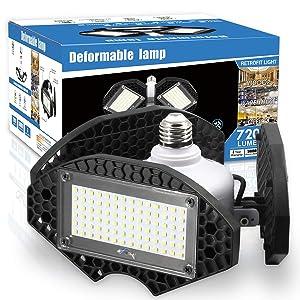 LED Garage Lights, Deformable LED Garage Ceiling Lights 7200 Lumens, CRI 80 Led Shop Lights for Garage, Garage Lights with 3 Adjustable Panels, Utility Led Garage Lighting (No Motion Activated) 55W1PK
