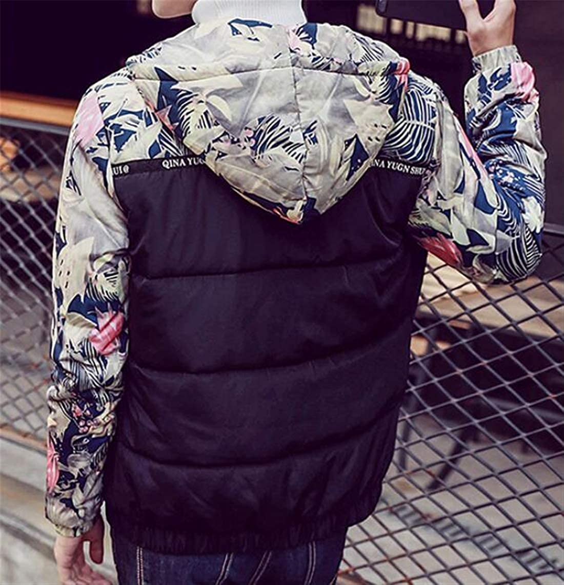 Zantt Men Warm Patchwork Quilted Full-Zip Floral Print Hooded Winter Down Jacket