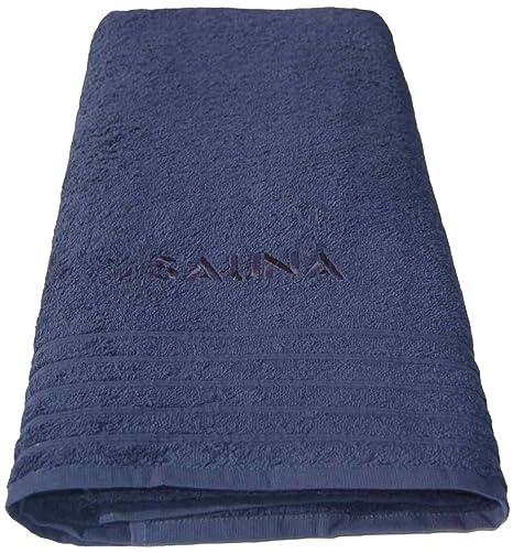 Wellness Sauna toalla de baño azul, XXL para sauna bordada con 80 x 200 cm