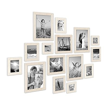 Set of 15 Picture Frames, Beach-House Style, Rustic, White, Solid ...