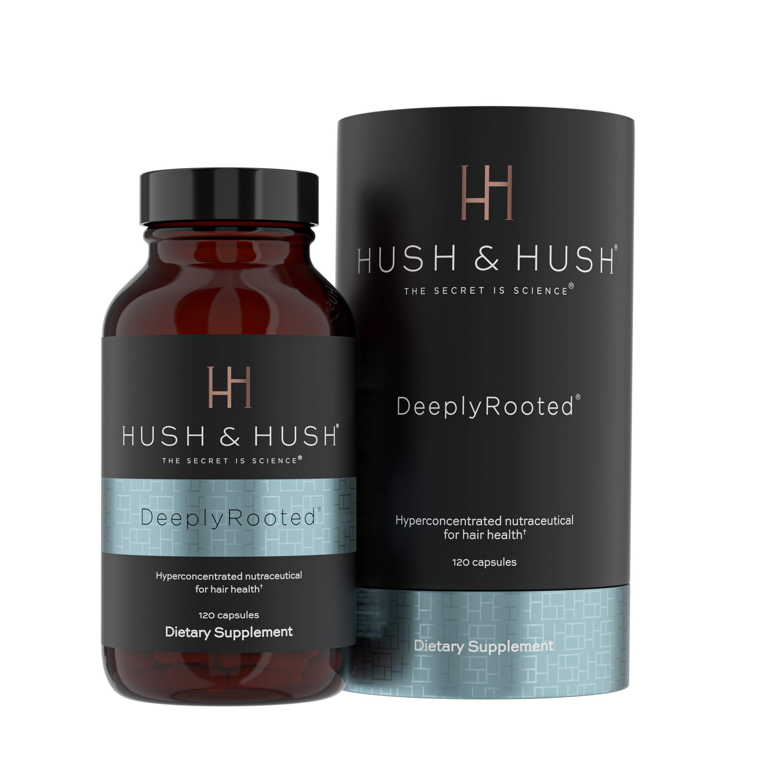 Hush & Hush DeeplyRooted Hair Supplement For Stronger, Healthier Hair - Collagen Hair Growth Pills For Men & Women - Biotin For Hair Loss - Hair Care For Thinning Hair - Clinically Proven to Increase Hair Regrowth - 120 Capsules