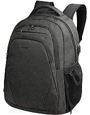 KROSER Laptop Backpack 15.6 Inch Computer Backpack School Backpack Casual Daypack Water-Repellent Laptop Bag with USB Charging Port for Travel/Business/College/Women/Men-Black