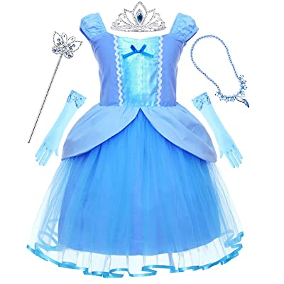 Princess Generic Costume for Toddler Girls Dress Up Party with Tiara and Wand: Clothing