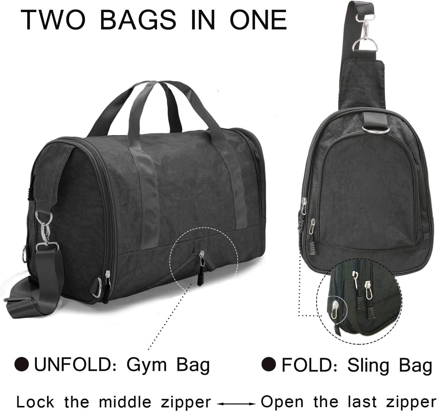 Black DIIG Gym Bag for Men Black Gray 30L Women Nylon Sport Bags with Shoe Packet Foldable