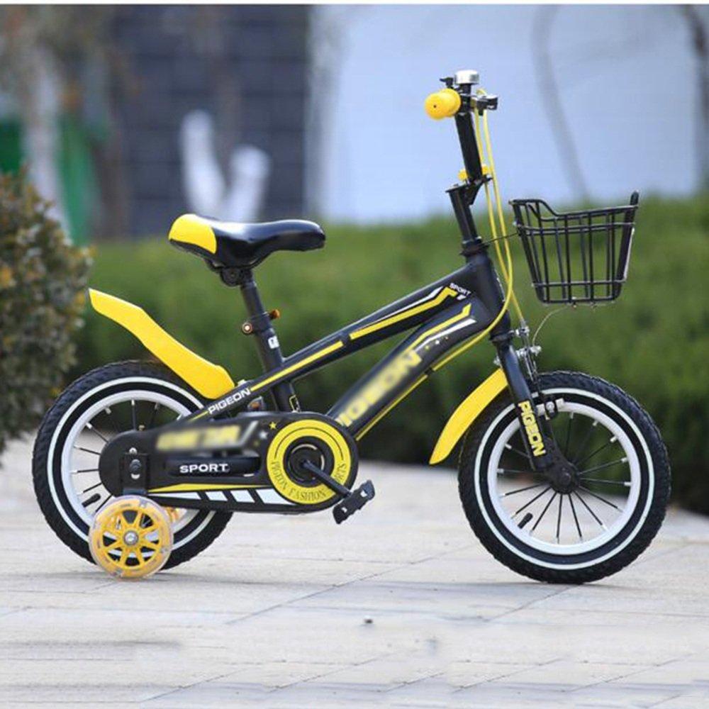 YANGFEI 子ども用自転車 フリースタイルキッズバイク、トレーニングホイール、12インチ、14インチ、16インチ、18インチ、ボーイのバイクとガールズバイク、子供のためのギフト 212歳 B07FGGCCWKイエロー いえろ゜ 14 inches