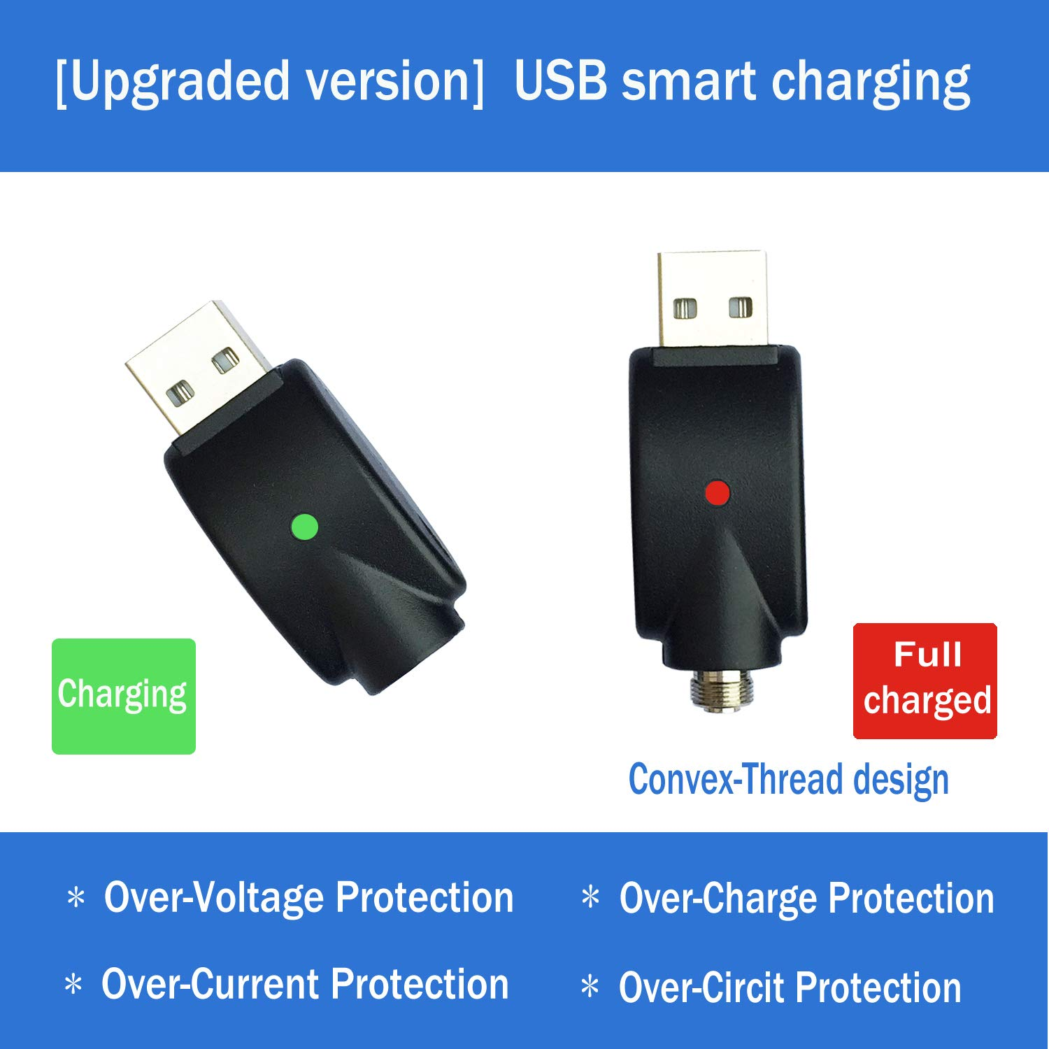 XXQCNCT USB Charge Thread Charger Smart Over-Charge Protection for USB Adapter Devices with LED Indicator Light Compatible with Standard Threaded Devices USB Charger Cable【3-Pack】