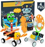 POKONBOY DIY Electric Motor Robotic Kits, STEM Toys Science Experiment Kits Engineering Science Project Kits for Boys and Girls-Doodling, Balance Car, Reptile Robot and Biplane(4 Sets)
