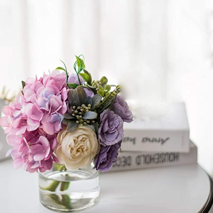 NAWEIDA Artificial Flowers with Vase, Fake Hydrangea Hand Bouquet in Vase,Faux Flower Arrangements for Home Decor,Small