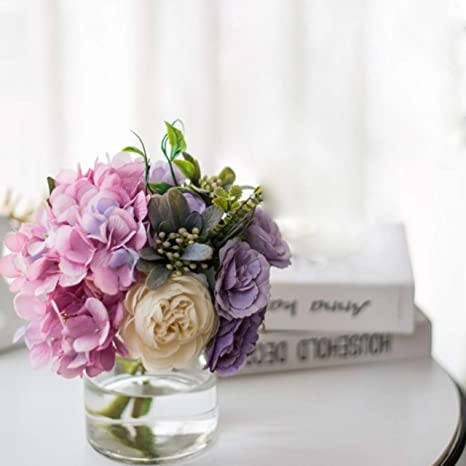 Amazon Com Artificial Flowers In Vase Fake Rose Flowers In Glass Vase Faux Flower Arrangements For Home Decor Kitchen Dining