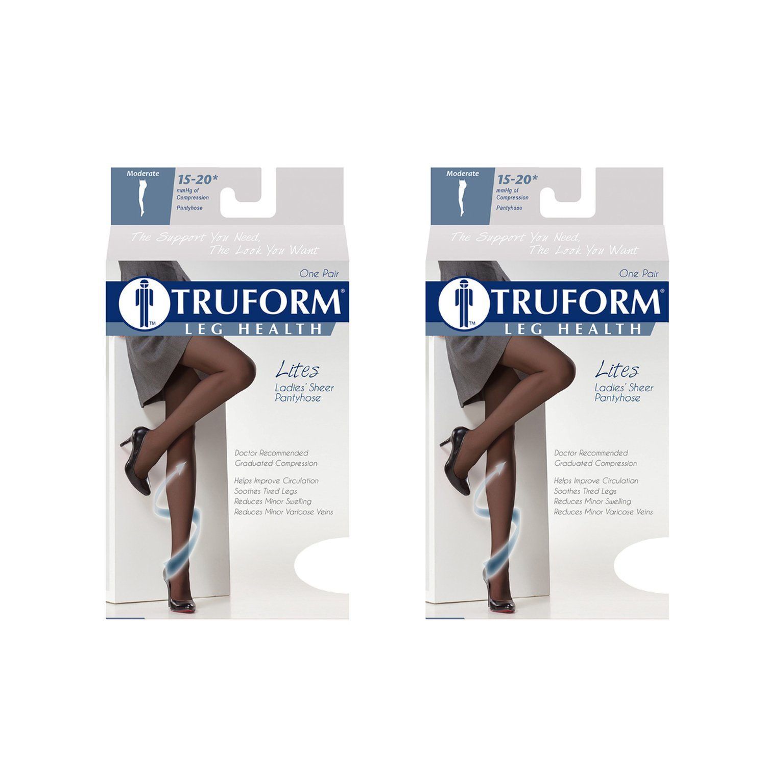 Truform 1775, Women's Sheer Compression Pantyhose, 15-20 mmHg, Queen, Nude, (Pack of 2)