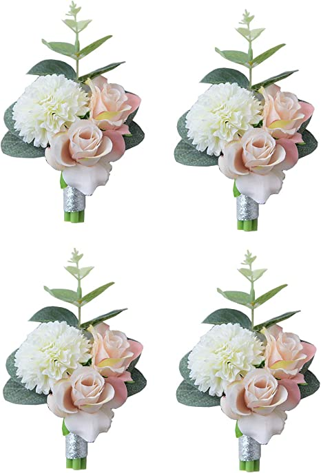 button hole Dusty pink ivory blush flower boutonniere wedding accessories prom corsage groom