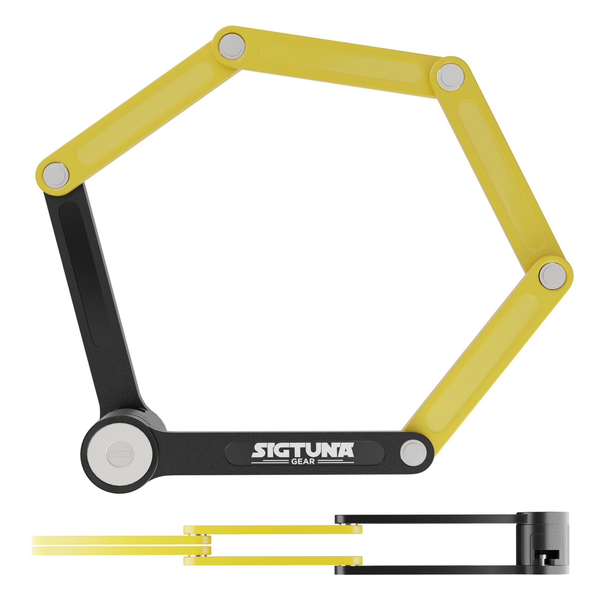SIGTUNA Folding Bike Lock – Heavy Duty Fold Bike Lock Combination with Easy-to-Install U Mount Bracket Holder and 3-Piece Anti Pick Bike Folding Lock Key Set