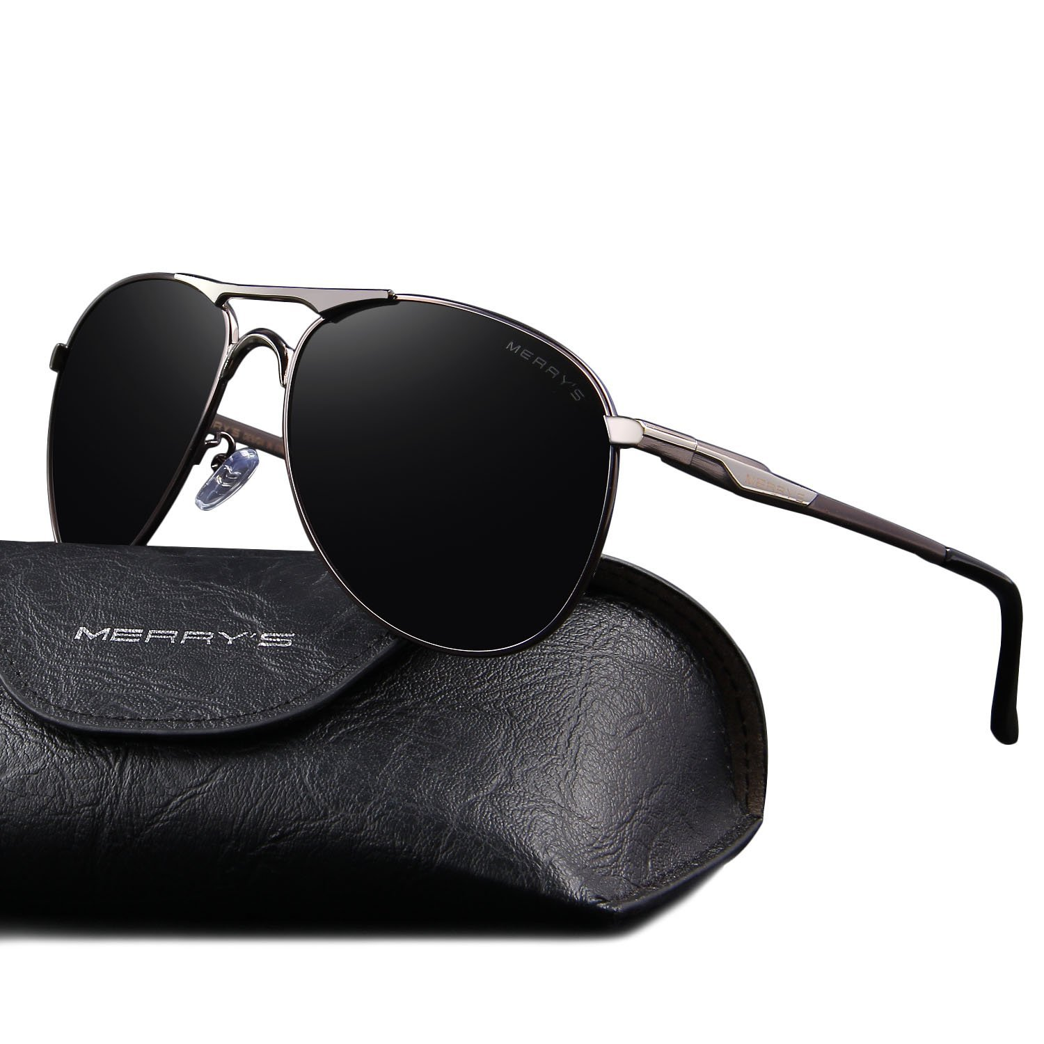 MERRY'S Mens Driving Polarized Sunglasses Coating Lens Driving Shades Classic Brand Sun glasses S8712 (Silver&Gray, 62)