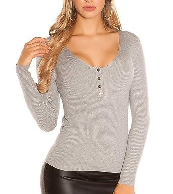 Damen Basic V-Cut Longpullover Pullover