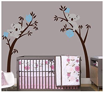 Bdecoll Baum Wandtattoo Kinderzimmer Wandsticker Cartoon Tiere Koala
