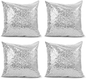 4Pcs Decorative Throw Pillow Covers, BSSN Silver Square Sparkling Decor Cushion Case, Glitzy Sequin Satin Solid Pillow Cases, Hidden Zipper Design for Home/Party/Christmas/Wedding, 18 x 18 Inch