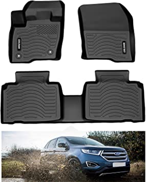 Amazon Com Coolshark Ford Edge Floor Mats Custom Fit Floor Liners For 2015 2020 Ford Edge 1st And 2nd Row Full Set Floor Mats All Weather Protection Black Automotive